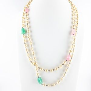 Long Vintage Faux Pearl and Glass Beaded Necklace